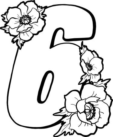 Decorative number 6 for coloring. Coloring book page, element of creativity. Drawing with anemones. Vector digit isolated on a white background. 向量圖像