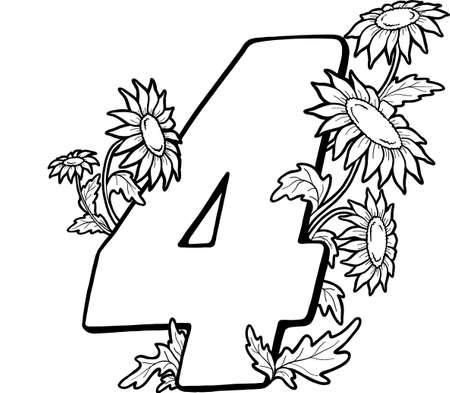 Decorative number 4 for coloring. Coloring book page, element of creativity. Drawing with camomiles. Wildflowers. Vector digit isolated on a white background. 向量圖像