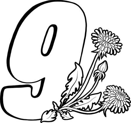 Number nine with dandelions. Page for children's creativity. Coloring book page. Flowers and numbers. Decorative vector numbers. Vector isolated on white background.