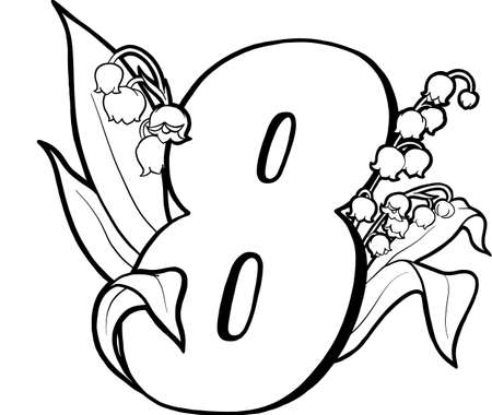 Number eight with lilies of the valley. Page for children's creativity. Coloring book page. Flowers and numbers. Decorative vector numbers. Vector isolated on white background.