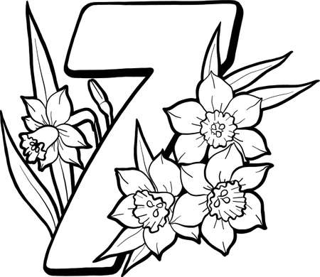 Number eight with daffodils. Page for children's creativity. Coloring book page. Flowers and numbers. Decorative vector numbers. Vector isolated on white background.