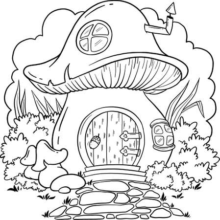 Fairy house mushroom. The home is fabulous creatures. Vector mushroom with windows for coloring book. Isolated vector on a white background.