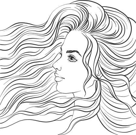 Beautiful girl in profile. Portrait of a girl with long hair. Vector woman on a white background. Coloring book page. Textile print. 向量圖像