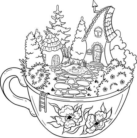 House of fantastic creatures. House with a pond and garden. A house in a circle for fairy-tale gnomes. Elf houses. Vector isolated on white background. 向量圖像