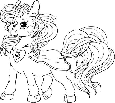 Cute pony character superhero. Vector pony for coloring book. Page for children's creativity. Children's character for drawing. Vector illustration isolated on white background.