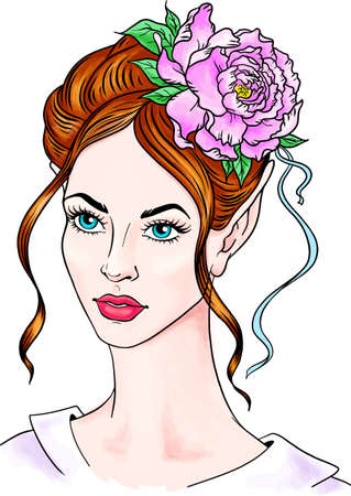 Portrait of a girl with a flower in her hair. Beautiful woman with a peony in her hair. Hairstyle with peonies. Flowers in beautiful long hair. Vector illustration isolated on a white background. Fashion illustration