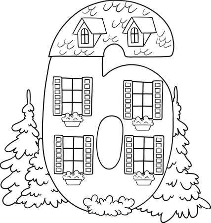 Fairytale house from the number. Number 6 with windows. Palace of the number. Coloring book page. Children's creativity.
