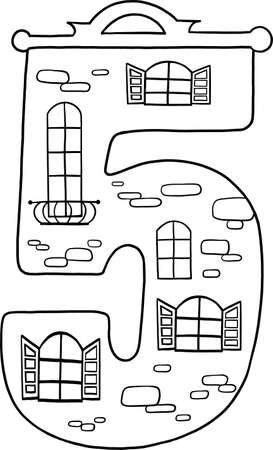 Fairytale house from the number. Number 5 with windows. Palace of the number. Coloring book page. Children's creativity. 向量圖像
