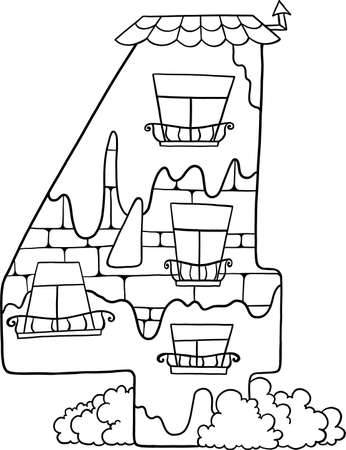 Fairytale house from the number. Number 4 with windows. Palace of the number. Coloring book page. Children's creativity. 向量圖像