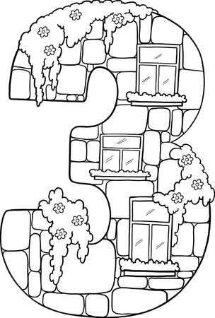 Fairytale house from the number. Number 3 with windows. The number is made of stone. Coloring book page. Children's creativity.