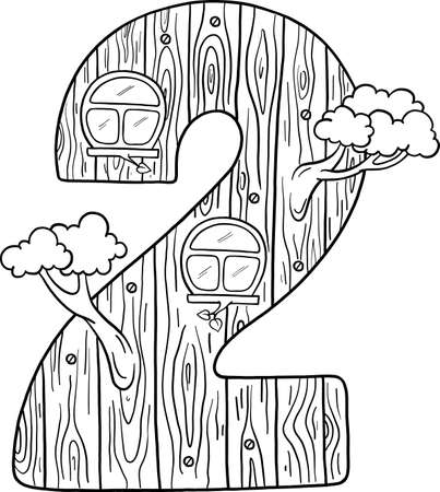 Fairytale house from the number. Number 2 with windows. Wooden figure. Coloring book page. Children's creativity.