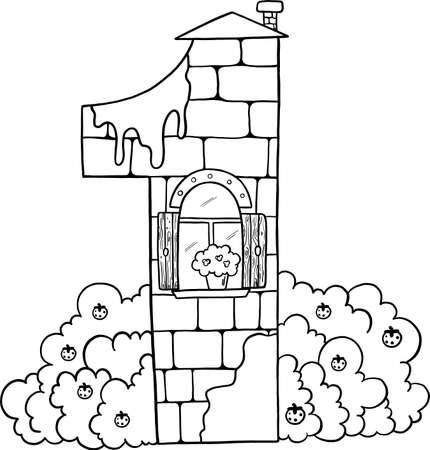 Fairytale house from the number. Number 1 with windows. Coloring book page. Children's creativity.
