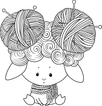 Cute lamb character with balls of thread. Vector lamb character for textile print.