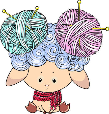 Cute lamb character with balls of thread. Vector lamb character for textile print. Character for coloring book.