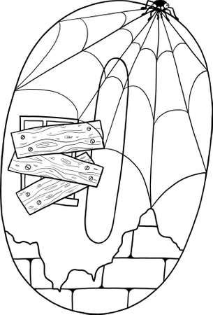 Fairytale house of numbers. Fairytale house from the number. Number 0 with windows. Palace of the number. Coloring book page. Children's creativity.