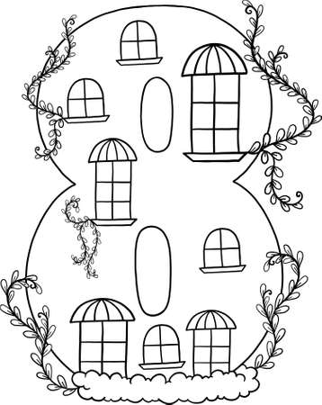 Fairytale house of numbers. Fairytale house from the number. Number 8 with windows. Palace of the number. Coloring book page. Children's creativity.