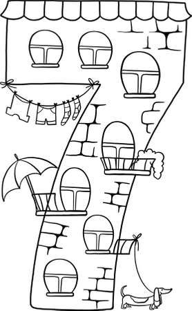 Fairytale house of numbers. Fairytale house from the number. Number 7 with windows. Palace of the number. Coloring book page. Children's creativity.