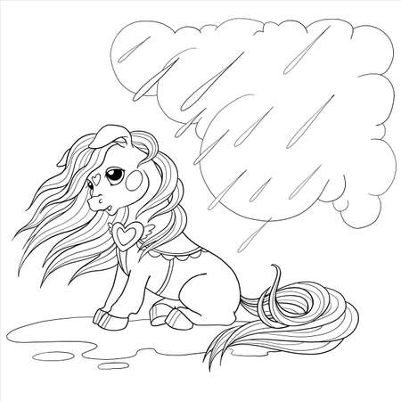 Cute pony character. Vector pony for coloring book. Sad pony in the rain. Children's character for drawing. Vector illustration isolated on white background. 向量圖像
