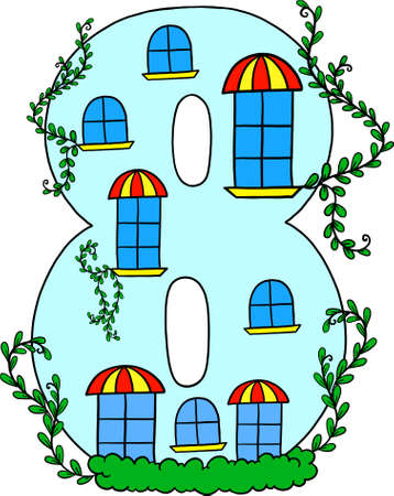 Learning to count. Learning the numbers. Decorative room for training and development. Number 8 vector digits. Educational picture. Isolated vector