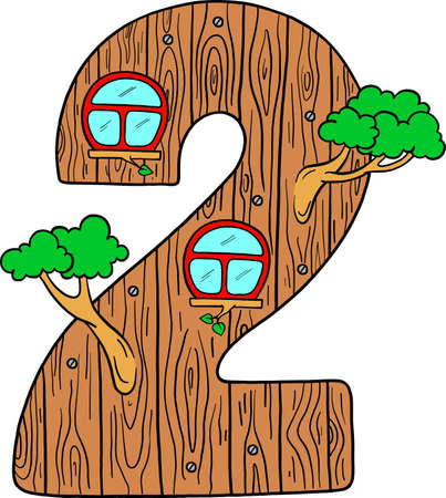 Learning to count. Learning the numbers. Decorative number for learning and development. Number 2 vector digit. Educational picture. Isolated vector.