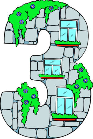 Learning numbers. Decorative number for learning and development. Number 3 is a fun figure with windows. Educational picture. Isolated vector. 向量圖像