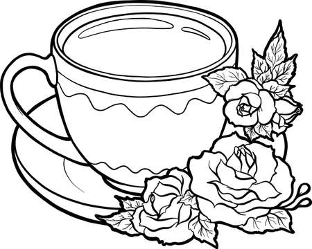 Cup with rose flowers. Crockery and flowers. Page for coloring book. Vector isolated on white background. Element for creativity.