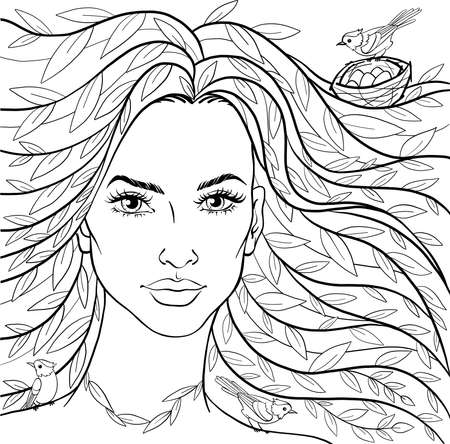 Beautiful girl with leaves in her hair. Spring woman and birds. Vector illustration for coloring book.