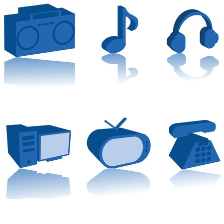 3D multimedia icons set, isolated over white background