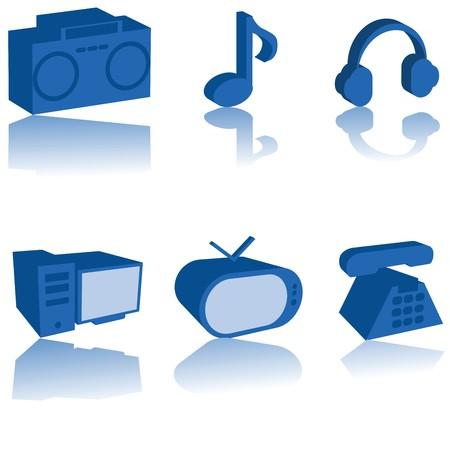 Conjunto de iconos de multimedia 3D, aislado sobre fondo blanco