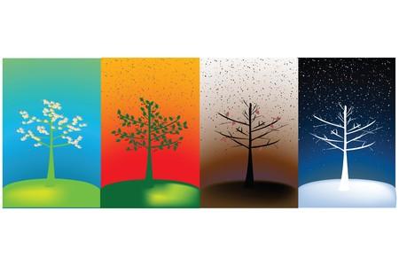cuatro elementos: Concepto abstracto de cuatro temporadas