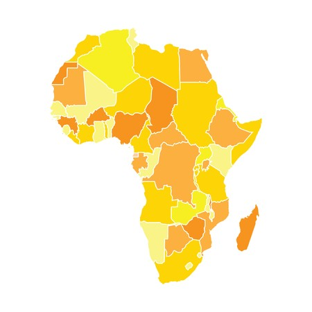 diagrammatic: Africa map in yellow colors, isolated on white background