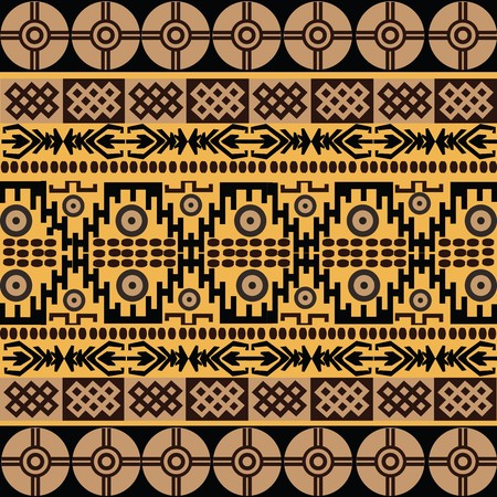 Ethnic pattern with african symbols & ornaments photo