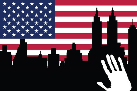 hands fire passion: American city background Stock Photo