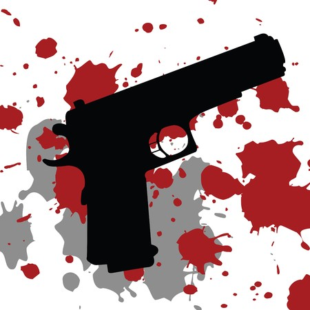 scene of a crime: Background with gun gun and blood spots Stock Photo