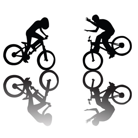 Silhouettes of children riding a bike Stock Photo - 7032052