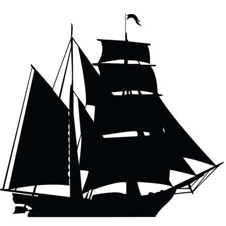 Black silhouette of sailing ship Stock Photo - 7031927