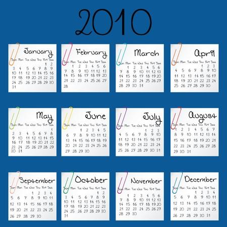 julie: Blue calendar for 2010 Stock Photo