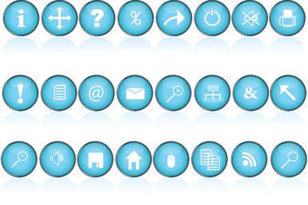 Collection of blue round buttons with icons and symbols for pc photo