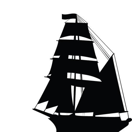 brigantine: Black old brigantine silhouette Stock Photo