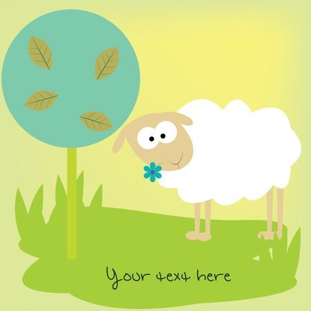 Card with cute sheep photo