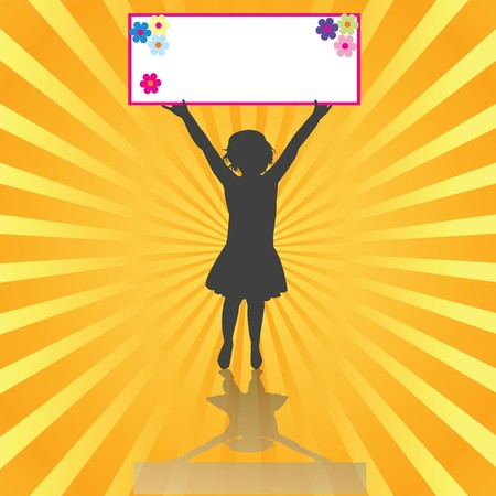 Cute girl holding a banner Stock Photo - 7032108