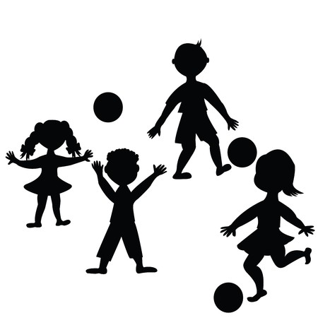 Ni�os jugando con pelotas  Foto de archivo - 7031872