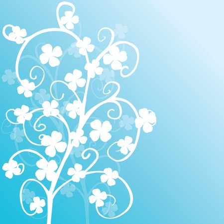 Blue background with white clovers Stock Photo