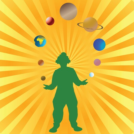 stylistic embellishments: Clown playing with planets from Solar System