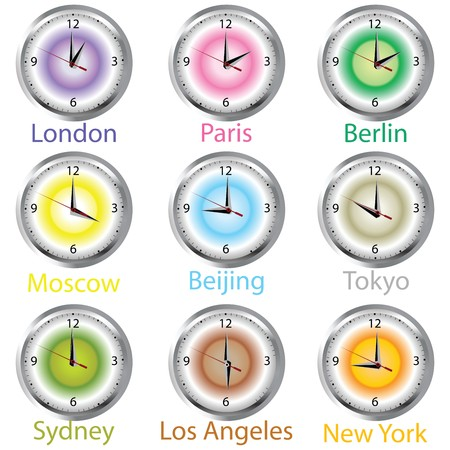 timezone: Colored clocks with timezone