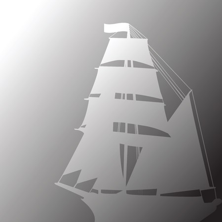 Concept of old brigantine in fog photo