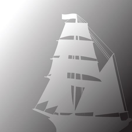 brigantine: Concept of old brigantine in fog Stock Photo