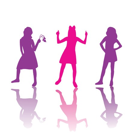 Cute girls silhouettes in pink and violet photo