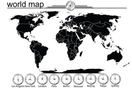 Detailed world map with country borders and time in main cityes photo