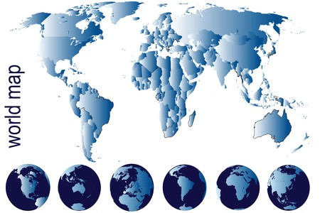 Detailed world map with Earth globes Stock Photo - 7032530
